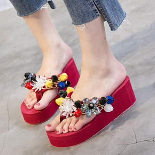 Rhinestone Sandals Cotton Wedge Heel Shoes