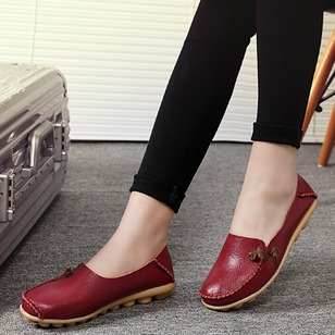 Closed Toe Real Leather Low Heel Shoes