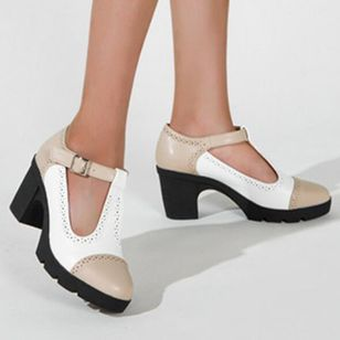 Women's Buckle Closed Toe Chunky Heel Sandals (146740246)