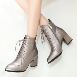 Zipper Lace-up Ankle Boots Patent Leather Chunky Heel Shoes