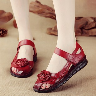 Flower Flats Leatherette Low Heel Shoes