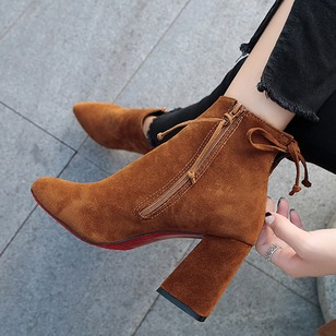 Zipper Lace-up Ankle Boots Nubuck Chunky Heel Shoes