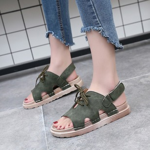 Buckle Hollow-out Flats Nubuck Flat Heel Shoes