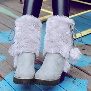 Fur Mid-Calf Boots Chunky Heel Shoes