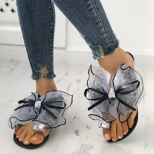 Women's Crystal Bowknot Toe Ring Lace Flat Heel Sandals (4127898)