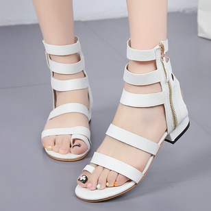 Zipper Hollow-out Toe Ring PU Low Heel Shoes