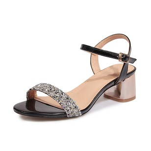 Sequin Buckle Ankle Strap Sandals Peep Toe Leatherette Sparkling Glitter Chunky Heel Shoes