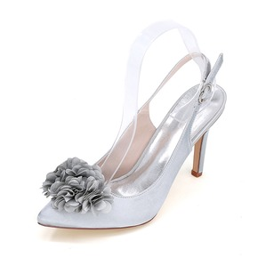 Flower Closed Toe Slingbacks Heels Satin Stiletto Heel Shoes