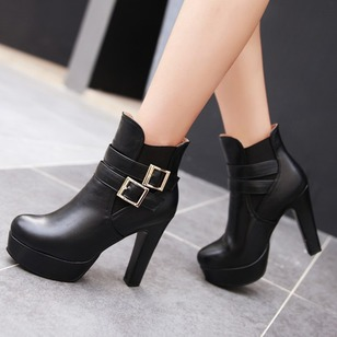 Women's Boots Ankle Boots Chunky Heel PU Shoes
