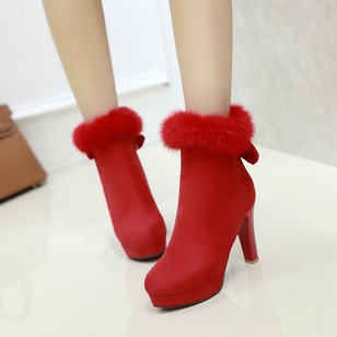 Bowknot Zipper Fur Platform Heels Ankle Boots Suede Chunky Heel Shoes