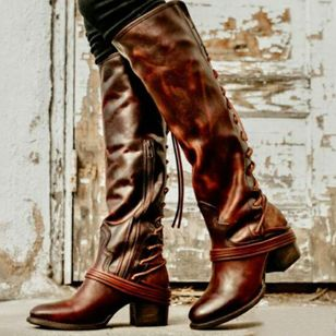 Women's Zipper Lace-up Knee High Boots Closed Toe Chunky Heel Boots (120295106)