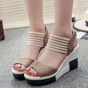 Buckle Slingbacks PU Wedge Heel Shoes