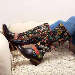 Flower Mid-Calf Boots Low Heel Shoes