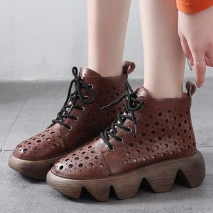 Women's Lace-up Hollow-out Ankle Boots Low Heel Boots (100002103)