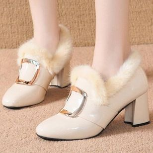 Women's Buckle Fur Round Toe Heels Chunky Heel Pumps (146739815)