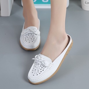Hollow-out PU Flat Heel Shoes