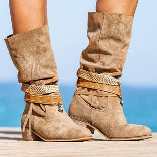 Women's Lace-up Mid-Calf Boots Round Toe Heels Chunky Heel Boots (107151440)
