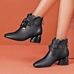 Women's Bowknot Zipper Ankle Boots Closed Toe Chunky Heel Boots (120295148)