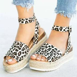 Women's Leopard Buckle Slingbacks Nubuck Wedge Heel Sandals Platforms (1519913)