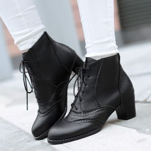 Women's Lace-up Ankle Boots Closed Toe Patent Leather Chunky Heel Boots (122031170)