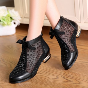 Hollow-out Real Leather Low Heel Shoes