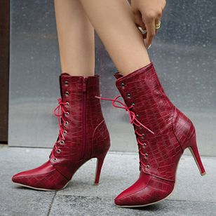 Women's Lace-up Mid-Calf Boots Closed Toe Pointed Toe Stiletto Heel Boots (120648415)