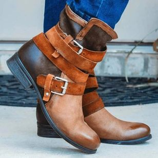 Women's Buckle Mid-Calf Boots Low Heel Boots