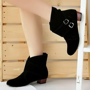 Buckle Ankle Boots PU Chunky Heel Shoes