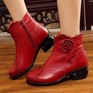 Zipper Mid-Calf Boots Low Heel Shoes