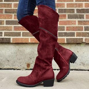Women's Zipper Knee High Boots Closed Toe Round Toe Nubuck Chunky Heel Boots (108089215)