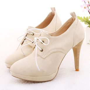 Lace-up Pointed Toe Kitten Heel Shoes