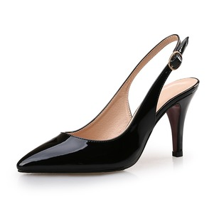Closed Toe Slingbacks Heels Patent Leather Stiletto Heel Shoes