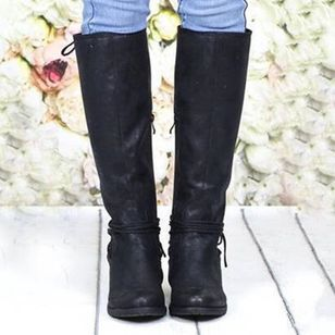 Zipper Lace-up Mid-Calf Boots Low Heel Shoes