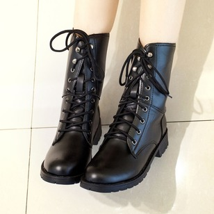 Lace-up Grommet Mid-Calf Boots PU Chunky Heel Shoes