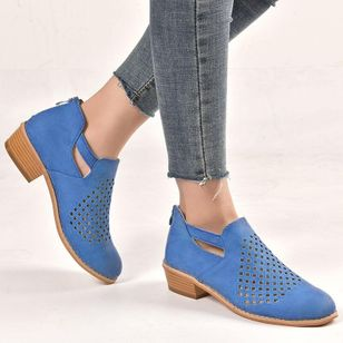 Net Surface Zipper Low Heel Shoes