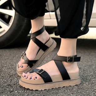 Buckle Toe Ring PU Flat Heel Shoes