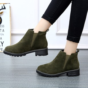 Ankle Boots Cloth Chunky Heel Shoes