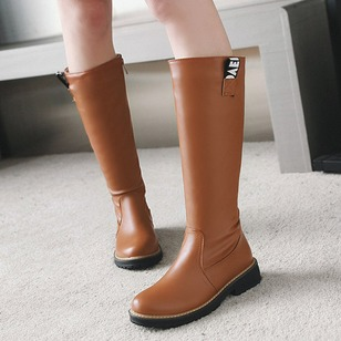 Zipper Platform Mid-Calf Boots Leatherette Chunky Heel Shoes