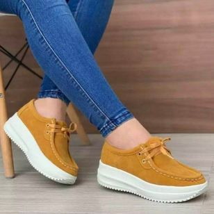 Women's Lace-up Closed Toe Nubuck Wedge Heel Wedges (102930677)