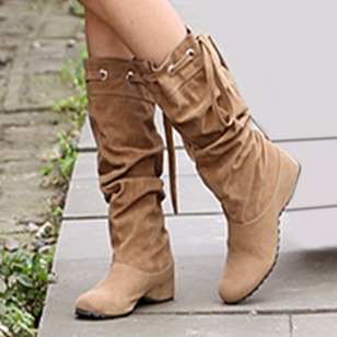 Lace-up Mid-Calf Boots Leatherette Flat Heel Shoes