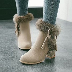 Zipper Tassel Fur Ankle Boots Suede Chunky Heel Shoes