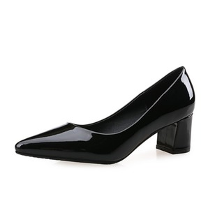 Closed Toe Heels Patent Leather Chunky Heel Shoes
