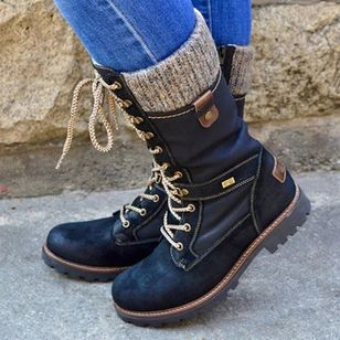 Women's Lace-up Mid-Calf Boots Low Heel Boots (107422725)