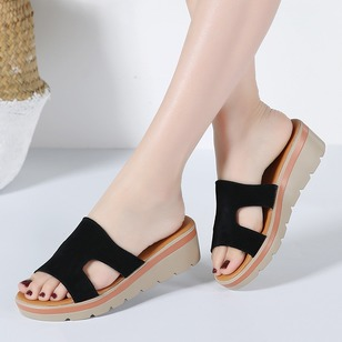 Hollow-out Real Leather Wedge Heel Shoes