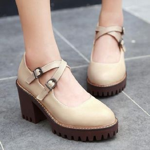 Buckle Closed Toe Chunky Heel Shoes