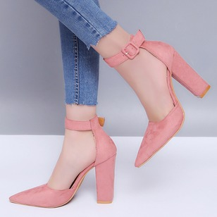 Buckle Suede Chunky Heel Shoes
