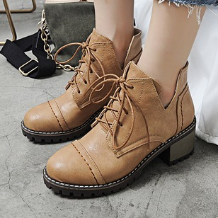 Lace-up Ankle Boots PU Chunky Heel Shoes