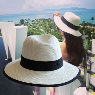 Straw Color Block Hats