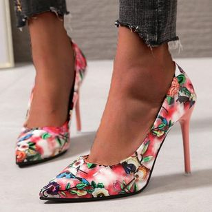Women's Flower Pointed Toe Stiletto Heel Pumps (1525233)