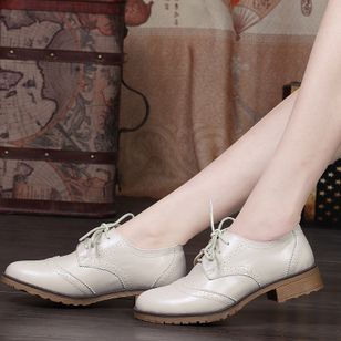Lace-up Closed Toe Low Heel Shoes
